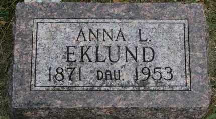 EKLUND, ANNA L. - Clay County, South Dakota   ANNA L. EKLUND - South Dakota Gravestone Photos