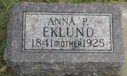 EKLUND, ANNA P. - Clay County, South Dakota | ANNA P. EKLUND - South Dakota Gravestone Photos