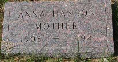 HANSON, ANNA - Clay County, South Dakota | ANNA HANSON - South Dakota Gravestone Photos