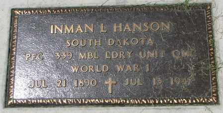 HANSON, INMAN L. (WW I) - Clay County, South Dakota | INMAN L. (WW I) HANSON - South Dakota Gravestone Photos