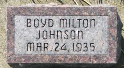 JOHNSON, BOYD MILTON - Clay County, South Dakota | BOYD MILTON JOHNSON - South Dakota Gravestone Photos