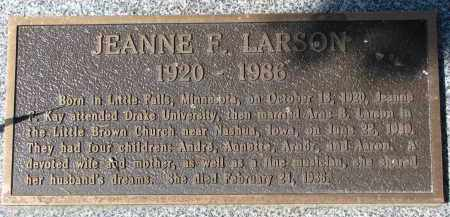 LARSON, JEANNE F. - Clay County, South Dakota | JEANNE F. LARSON - South Dakota Gravestone Photos