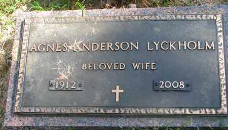 ANDERSON LYCKHOLM, AGNES - Clay County, South Dakota | AGNES ANDERSON LYCKHOLM - South Dakota Gravestone Photos