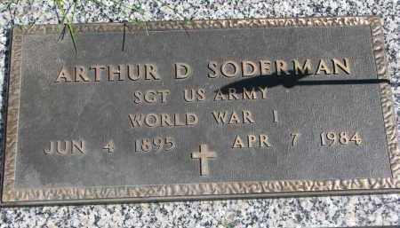 SODERMAN, ARTHUR D. (WW I) - Clay County, South Dakota | ARTHUR D. (WW I) SODERMAN - South Dakota Gravestone Photos