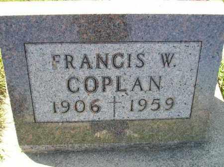 COPLAN, FRANCIS W. - Codington County, South Dakota | FRANCIS W. COPLAN - South Dakota Gravestone Photos
