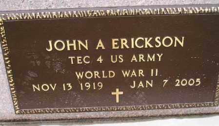 ERICKSON, JOHN A. (WWII) - Codington County, South Dakota | JOHN A. (WWII) ERICKSON - South Dakota Gravestone Photos
