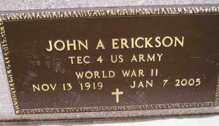 ERICKSON, JOHN A. (WWII) - Codington County, South Dakota | JOHN A. (WWII) ERICKSON - South Dakota Gravestone Photos