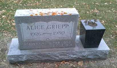 GRIEPP, ALICE - Codington County, South Dakota   ALICE GRIEPP - South Dakota Gravestone Photos