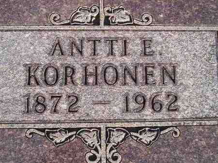 KORHONEN, ANTTI E. - Codington County, South Dakota | ANTTI E. KORHONEN - South Dakota Gravestone Photos