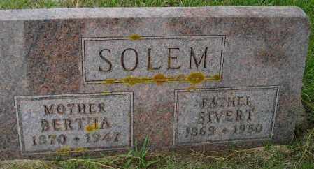 SOLEM, BERTHA - Codington County, South Dakota | BERTHA SOLEM - South Dakota Gravestone Photos