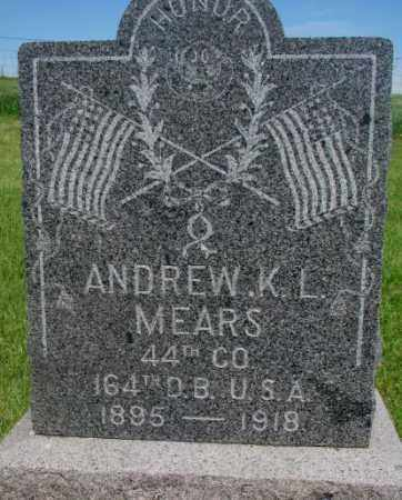 MEARS, ANDREW K.L. - Gregory County, South Dakota   ANDREW K.L. MEARS - South Dakota Gravestone Photos