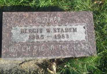 STADEM, BERGIT W - Hamlin County, South Dakota | BERGIT W STADEM - South Dakota Gravestone Photos