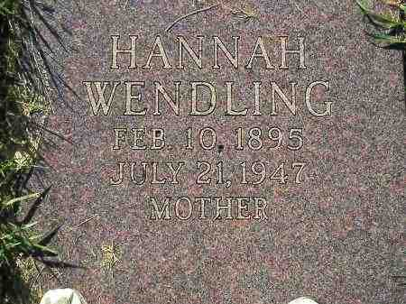 WENDLING, HANNAH - Hamlin County, South Dakota | HANNAH WENDLING - South Dakota Gravestone Photos