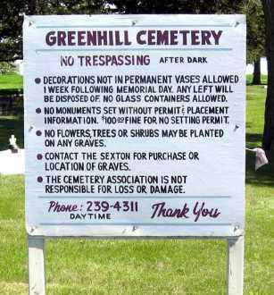 *GREENHILL, SIGN - Hanson County, South Dakota   SIGN *GREENHILL - South Dakota Gravestone Photos