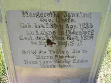 GRAFE JANZING, MARGARETHA - Hanson County, South Dakota | MARGARETHA GRAFE JANZING - South Dakota Gravestone Photos