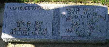 PARADEIS, WALTER - Hanson County, South Dakota | WALTER PARADEIS - South Dakota Gravestone Photos