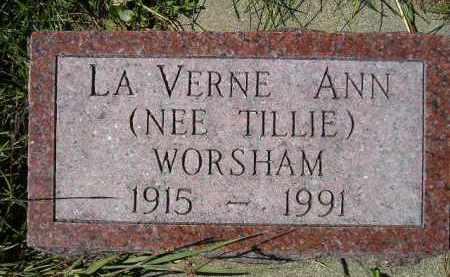 TILLIE WORSHAM, LA VERNE ANN - Hanson County, South Dakota | LA VERNE ANN TILLIE WORSHAM - South Dakota Gravestone Photos