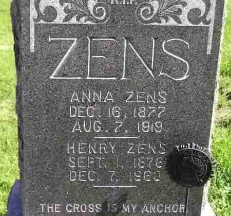ZENS, ANNA - Hanson County, South Dakota | ANNA ZENS - South Dakota Gravestone Photos
