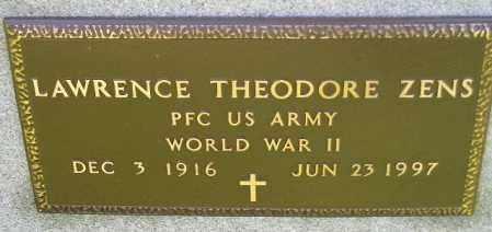 ZENS, LAWRENCE THEODORE (WW II) - Hanson County, South Dakota | LAWRENCE THEODORE (WW II) ZENS - South Dakota Gravestone Photos