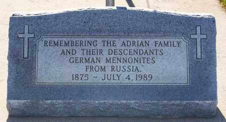 ***ADRIAN CEMETERY, MARKER - Hutchinson County, South Dakota | MARKER ***ADRIAN CEMETERY - South Dakota Gravestone Photos