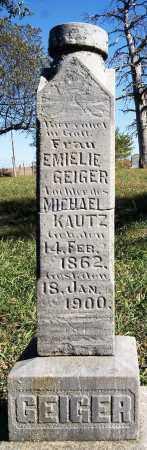 GEIGER KAUTZ, EMIELIE - Hutchinson County, South Dakota   EMIELIE GEIGER KAUTZ - South Dakota Gravestone Photos