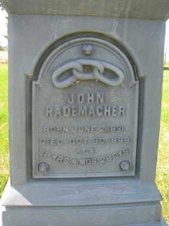 RADEMACHER, JOHN CLOSEUP - Hutchinson County, South Dakota | JOHN CLOSEUP RADEMACHER - South Dakota Gravestone Photos