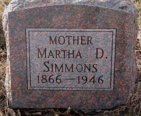SIMMONS, MARTHA D. - Hutchinson County, South Dakota | MARTHA D. SIMMONS - South Dakota Gravestone Photos