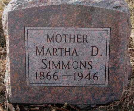 SIMMONS, MARTHA D. - Hutchinson County, South Dakota | MARTHA D. SIMMONS - South Dakota Gravestone Photos