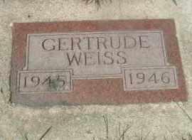 WEISS, GERTRUDE - Hutchinson County, South Dakota | GERTRUDE WEISS - South Dakota Gravestone Photos