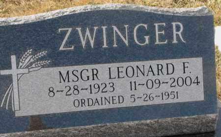 ZWINGER, MSGR LEONARD F. - Hutchinson County, South Dakota   MSGR LEONARD F. ZWINGER - South Dakota Gravestone Photos
