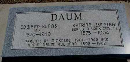 DAUM, EDWARD KLAAS - Jones County, South Dakota | EDWARD KLAAS DAUM - South Dakota Gravestone Photos