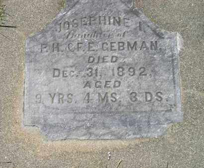 GEBMAN, JOSEPHINE I. - Kingsbury County, South Dakota | JOSEPHINE I. GEBMAN - South Dakota Gravestone Photos