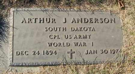 ANDERSON, ARTHUR J - Lincoln County, South Dakota   ARTHUR J ANDERSON - South Dakota Gravestone Photos