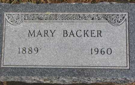BACKER, MARY - Lincoln County, South Dakota | MARY BACKER - South Dakota Gravestone Photos
