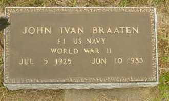 BRAATEN, JOHN IVAN - Lincoln County, South Dakota | JOHN IVAN BRAATEN - South Dakota Gravestone Photos