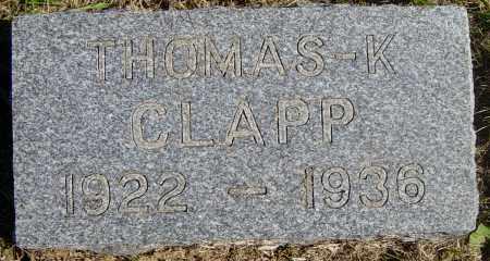 CLAPP, THOMAS K - Lincoln County, South Dakota | THOMAS K CLAPP - South Dakota Gravestone Photos