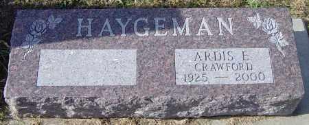 CRAWFORD HAYGEMAN, ARDIS E - Lincoln County, South Dakota | ARDIS E CRAWFORD HAYGEMAN - South Dakota Gravestone Photos