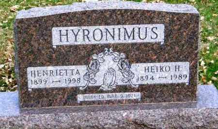 HYRONIMUS, HENRIETTA - Lincoln County, South Dakota | HENRIETTA HYRONIMUS - South Dakota Gravestone Photos