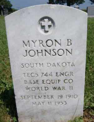 JOHNSON, MYRON B - Lincoln County, South Dakota   MYRON B JOHNSON - South Dakota Gravestone Photos