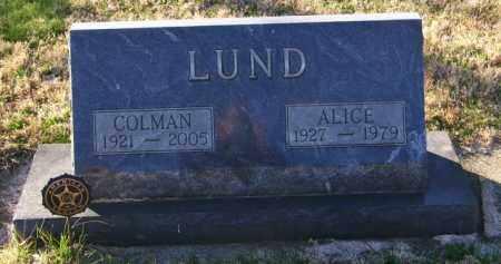 LUND, ALICE - Lincoln County, South Dakota | ALICE LUND - South Dakota Gravestone Photos