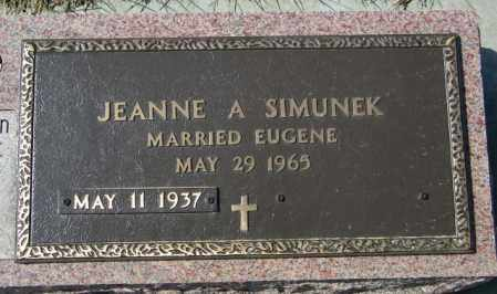 SIMUNEK, JEANNE A - Lincoln County, South Dakota | JEANNE A SIMUNEK - South Dakota Gravestone Photos