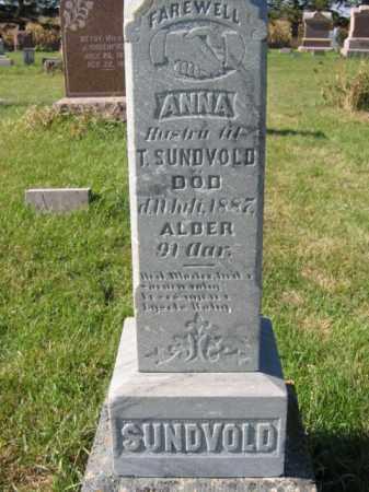 SUNDVOLD, ANNA - Lincoln County, South Dakota | ANNA SUNDVOLD - South Dakota Gravestone Photos
