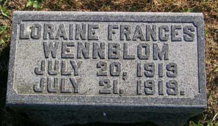 WENNBLOM, LORAINE FRANCES - Lincoln County, South Dakota   LORAINE FRANCES WENNBLOM - South Dakota Gravestone Photos