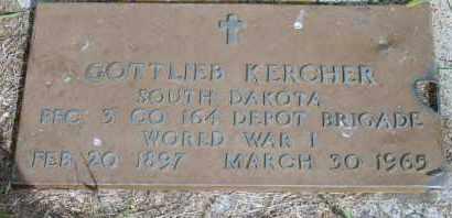 KERCHER, GOTTLIEB - Lyman County, South Dakota | GOTTLIEB KERCHER - South Dakota Gravestone Photos