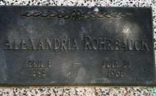 ROHRBAUCK, ALEXANDERIA - Lyman County, South Dakota   ALEXANDERIA ROHRBAUCK - South Dakota Gravestone Photos