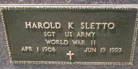 SLETTO, HAROLD K. (WW II) - Lyman County, South Dakota | HAROLD K. (WW II) SLETTO - South Dakota Gravestone Photos