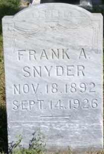 SNYDER, FRANK A - Lyman County, South Dakota | FRANK A SNYDER - South Dakota Gravestone Photos