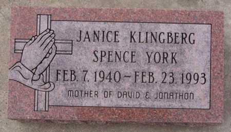KLINGBERG SPENCE YORK, JANICE - McCook County, South Dakota | JANICE KLINGBERG SPENCE YORK - South Dakota Gravestone Photos