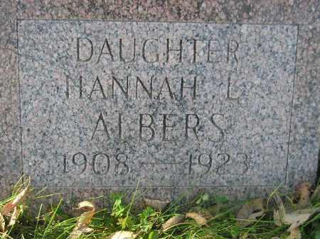 ALBERS, HANNAH L. - Miner County, South Dakota   HANNAH L. ALBERS - South Dakota Gravestone Photos