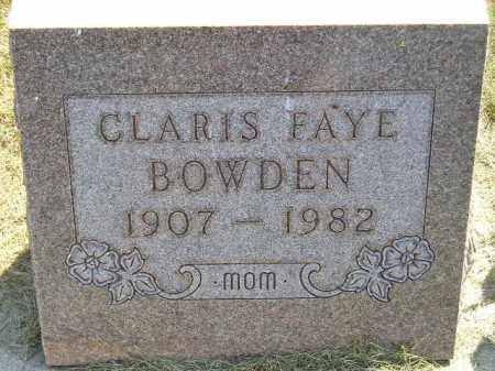 BOWDEN, CLARIS FAYE - Miner County, South Dakota | CLARIS FAYE BOWDEN - South Dakota Gravestone Photos